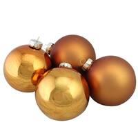 "Copper Glass Ball Christmas Ornament Set 4"""
