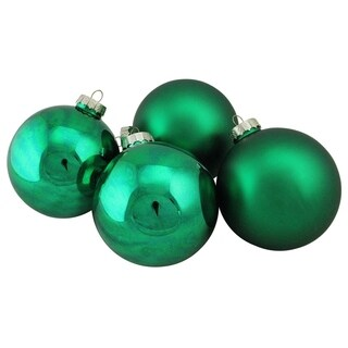 Green Glass Ball Christmas Ornament Set 4""
