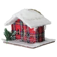 "4.25"" Plaid Snow Covered Cabin Christmas Ornament"