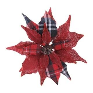 """9.5"""" Poinsettia Clip-On Christmas Ornament"""