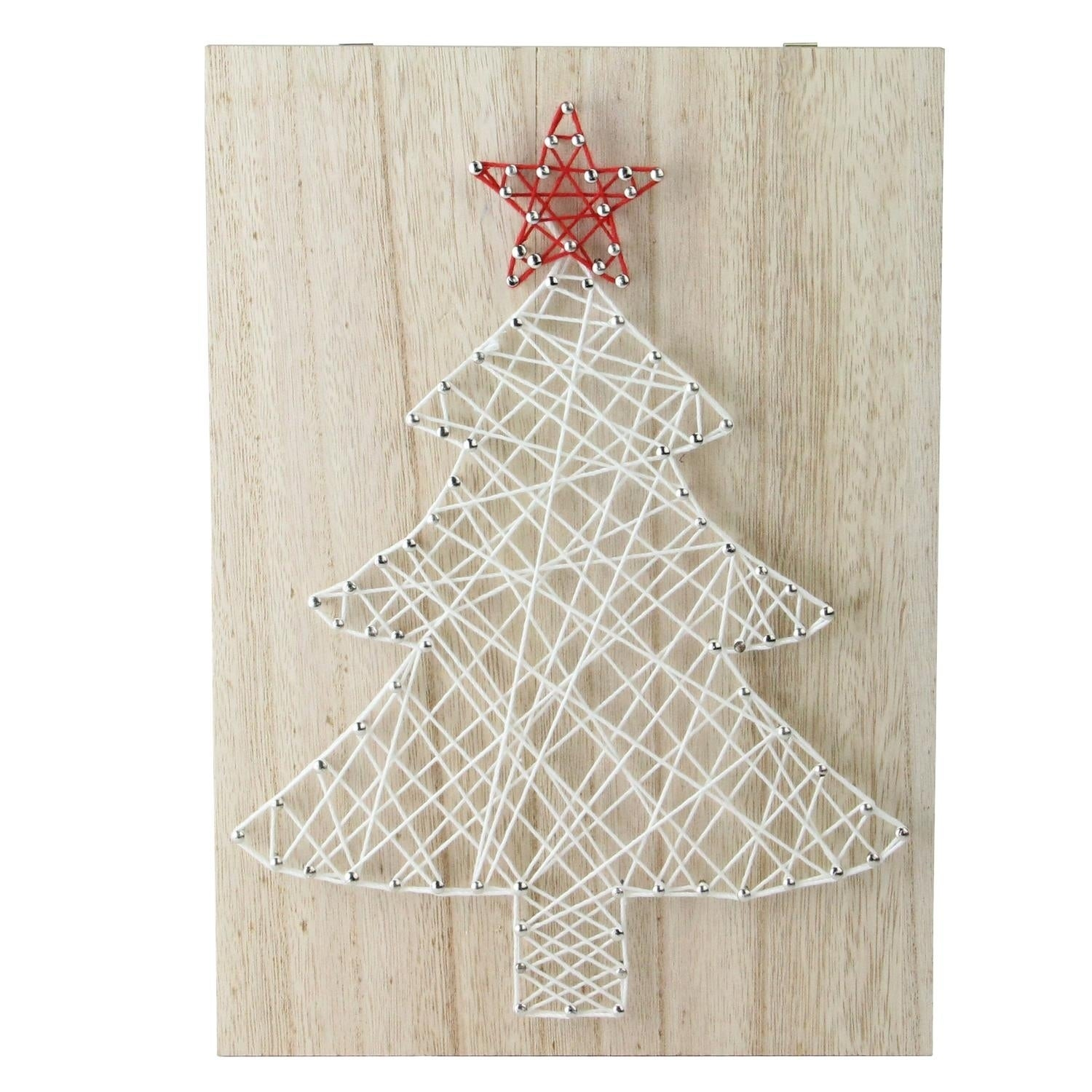 """11"""" """"Crazy String"""" Christmas Tree Wall Decoration, White ..."""