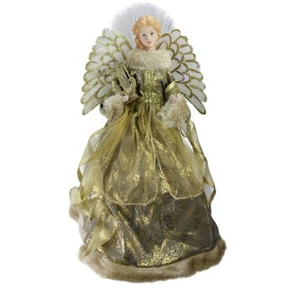 "16"" Angel in Metallic Gown Christmas Tree Topper"