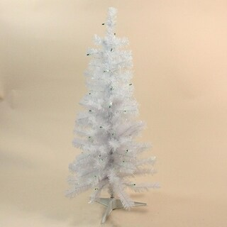 "3' x 16"" Slim Tinsel Christmas Tree - Green Lights"