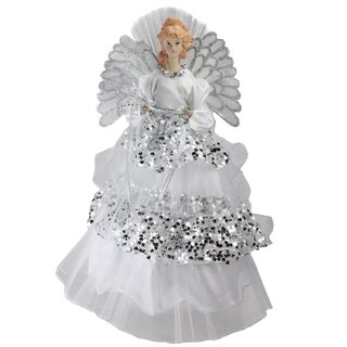 "16"" Angel in Sequined Gown Christmas Tree Topper"