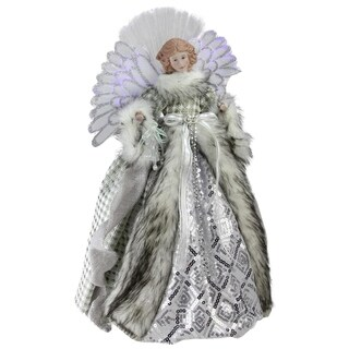 "16"" Angel in Gingham Coat Christmas Tree Topper"