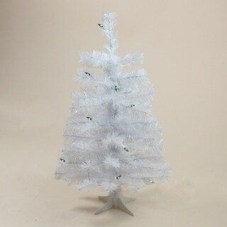 "2' x 12"" Slim Tinsel Christmas Tree - Green Lights"
