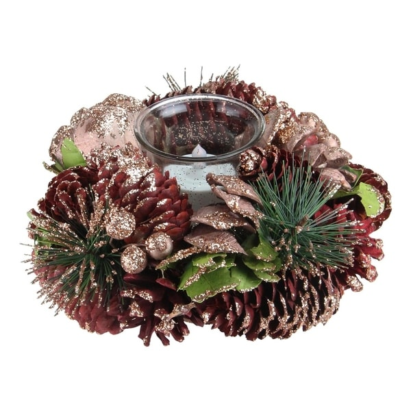7 pine cone christmas votive candle holder