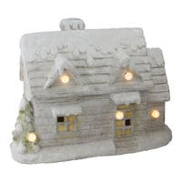 """14.5"""" Musical Snowy Cottage Christmas Decoration"""