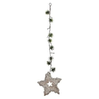 "25"" Pine Needle Sprig and Star Hanging Spray"