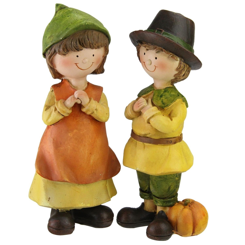 Dressed Boy & Girl Pilgrim Thanksgiving Figurines, Orange...