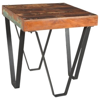 Colorado Collection Distressed-finished Teak Wood and Cast Iron Square End Table