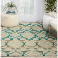 "Nourison India House Ivory/Teal Wool Area Rug - 3'6"" x 5'6"""