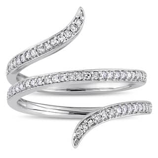 Miadora Signature Collection 14k White Gold 1/3ct TDW Diamond Spiral Ring|https://ak1.ostkcdn.com/images/products/18525581/P24634530.jpg?impolicy=medium