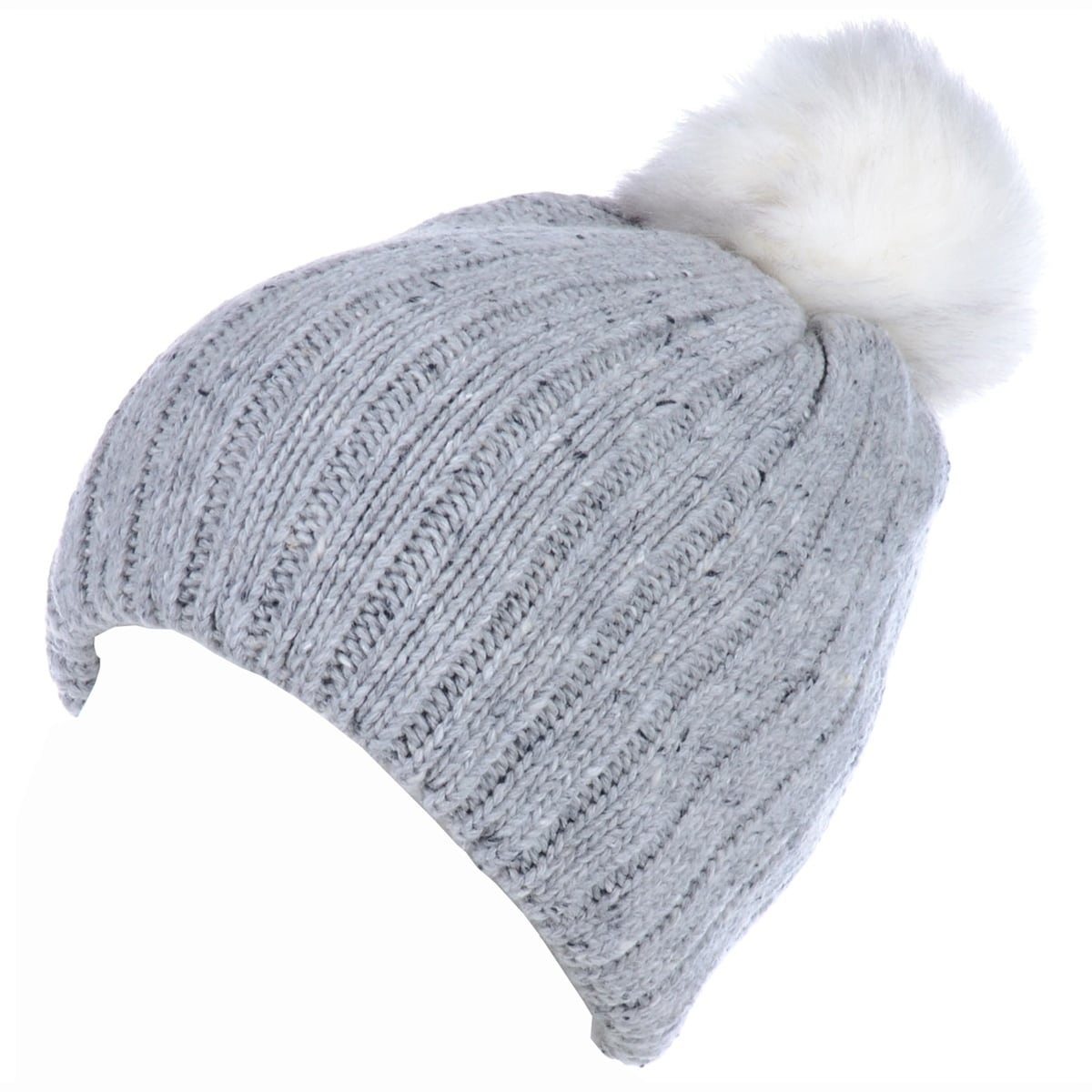 ede7d821adebea BYOS Winter Warm Fleece Lined Chunky Ribbed Knit Beanie Hat W/ White Faux  Fur Pom,Wool Blend