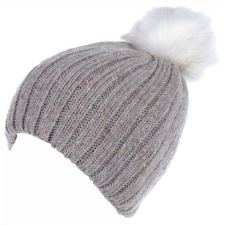 BYOS Winter Warm Fleece Lined Chunky Ribbed Knit Beanie Hat W/ White Faux Fur Pom,Wool Blend