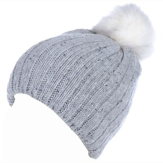 BYOS Winter Warm Fleece Lined Chunky Ribbed Knit Beanie Hat W/ White Faux Fur Pom,Wool Blend