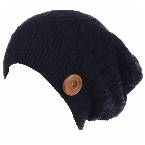 a487a03c05655 BYOS Winter Warm Fleece Lined Knit Slouchy Beanie Hat W/ Wooden Button  Accent