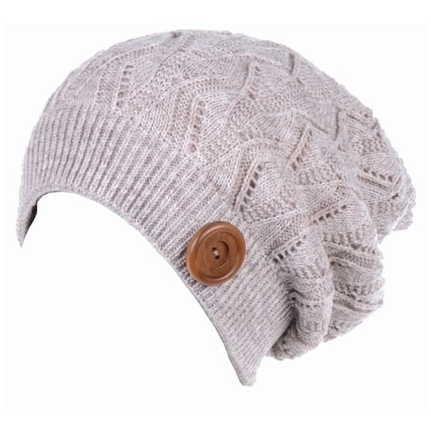 6fb4581bdadb0 BYOS Winter Warm Fleece Lined Knit Slouchy Beanie Hat W  Wooden Button  Accent.  25.99. See Price in Cart