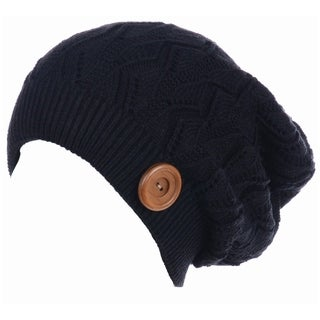 BYOS Winter Warm Fleece Lined Knit Slouchy Beanie Hat W/ Wooden Button Accent