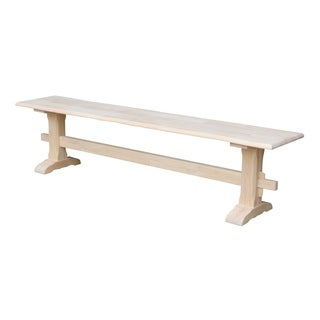 Shop Unfinished Solid Parawood Trestle Bench Free