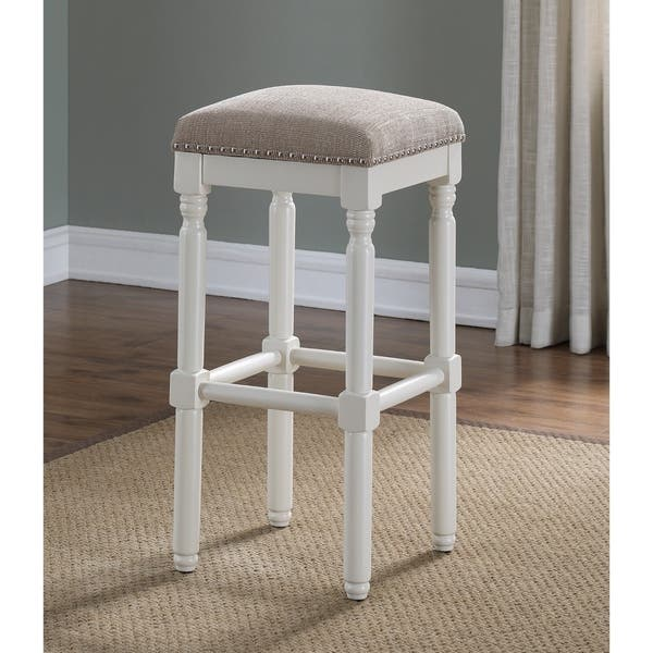 Surprising Ashford White Backless Counter Stool By Greyson Living Andrewgaddart Wooden Chair Designs For Living Room Andrewgaddartcom