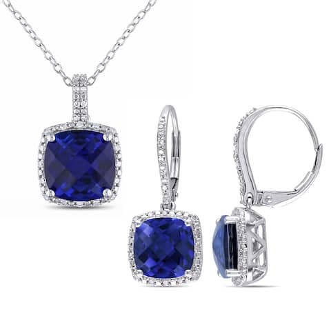 Miadora Sterling Silver Created Sapphire and 1/3ct TDW Diamond Square Halo Necklace and Leverback Earrings Set - Blue