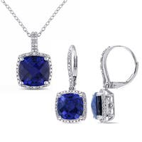 Miadora Sterling Silver Created Sapphire and 1/3ct TDW Diamond Square Halo Necklace and Leverback Earrings Set