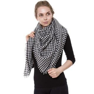 BYOS Women Winter Versatile Chic Tartan Plaid Oversized Blanket Scarf Wrap Shawl (Option: Black)
