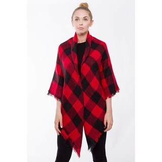 BYOS Women Winter Versatile Chic Tartan Plaid Oversized Blanket Scarf Wrap Shawl