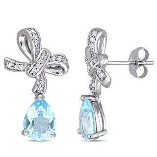 Laura Ashley Sky-Blue Topaz and 1/6ct TDW Diamond and Blue Topaz Drop Earrings in 10k White Gold