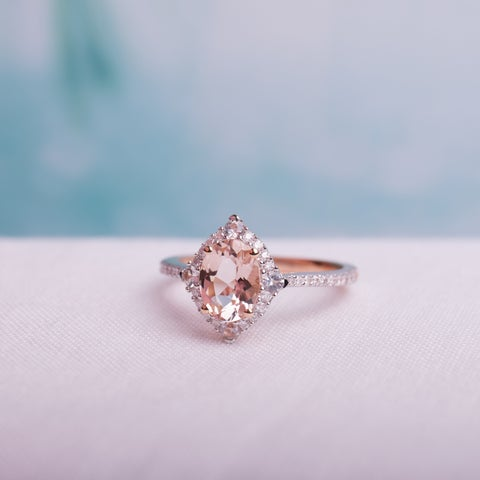 Miadora Signature Collection 10k Rose Gold Morganite White Sapphire and 1/4ct TDW Diamond Vintage Halo Engagement Ring