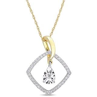 Miadora Signature Collection 2-Tone 10k White and Yellow Gold 1/4ct TDW Diamond Square Halo Dangle Necklace
