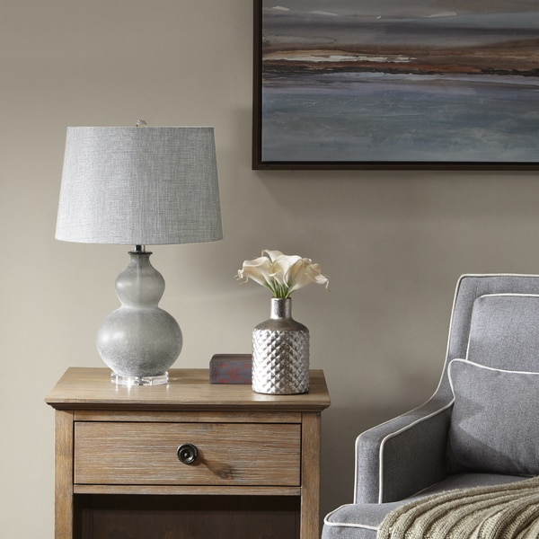 Madison Park Signature Gillian Black/ Brown 24-inch Table Lamp with Grey Cone Shape Shade 31074579