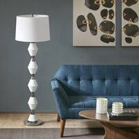 INK+IVY Abbott White/ Silver 59.5-inch Floor Lamp White Tappered Shade Shape