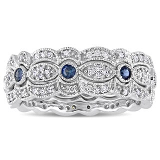 Miadora Signature Collection 14k White Gold Sapphire and 2/5ct TDW Diamond Milgrain Filigree 3-Piece Stacking Ring Set