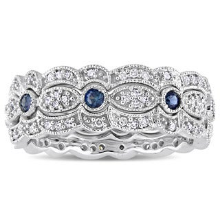 Miadora Signature Collection 14k White Gold Sapphire and 2/5ct TDW Diamond Milgrain Filigree 3-Piece Stacking Ring Set - Blue