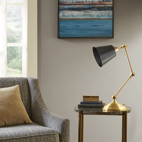 Madison Park Signature Brooks Black/ Gold 19.625-inch Table Task Lamp with Tapered Shade