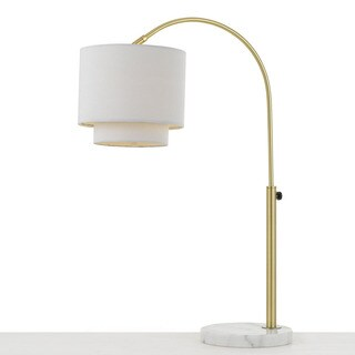 AF Lighting Arched Table Lamp in Brushed Gold with Fabric Shade