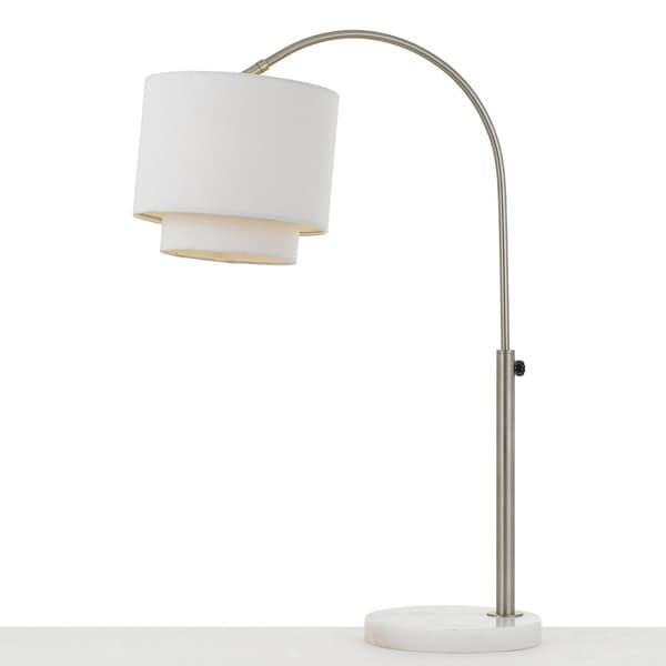AF Lighting Arched Table Lamp in Brushed Nickel with Fabric Shade
