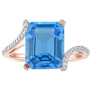 Miadora Signature Collection 14k Rose Gold Swiss-Blue Topaz and 1/4ct TDW Diamond Bypass Cocktail Ring - Blue