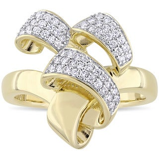 Miadora Signature Collection 2-Tone 14k White and Yellow Gold 1/4ct TDW Diamond Ribbon Crossover Ring