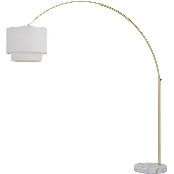 AF Lighting Brushed Gold Finish Metal Arched Floor Lamp With Fabric Shade