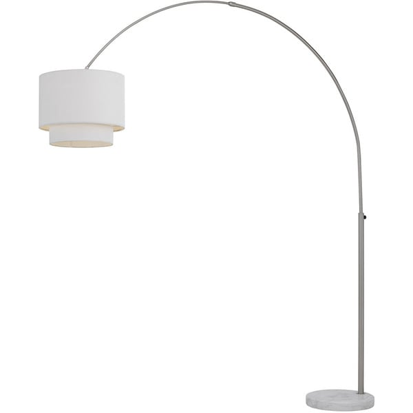 AF Lighting Brushed Nickel Metal Arched Floor Lamp With Fabric Shade