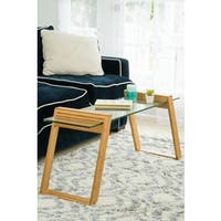Canary Glass and Bamboo 43-inch Long Coffee Table