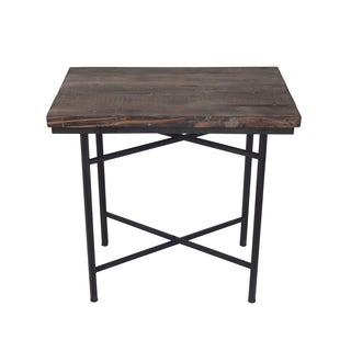 WOOD/METAL RECT TABLE.