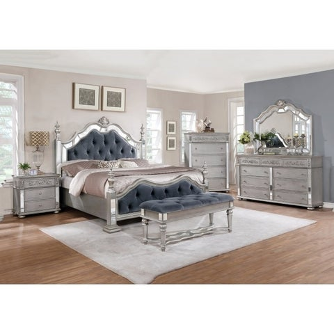 Silver Orchid Olivia Glam Grey 5-piece Tufted Panel Bedroom Set