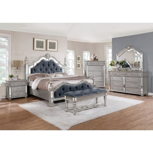 Best quality furniture glam grey 6 piece tufted panel bedroom set free shipping today for Best quality bedroom furniture