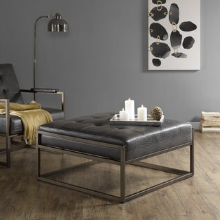 Ink+Ivy Waldorf Brown Faux Leather/Metal Square Ottoman