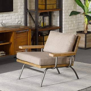 Ink+Ivy Renu Tan/Gunmetal Wood/Metal Lounge Chair