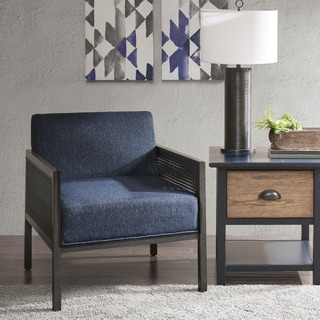Ink+Ivy Clark Blue Wood and Fabric Upholstered Lounge